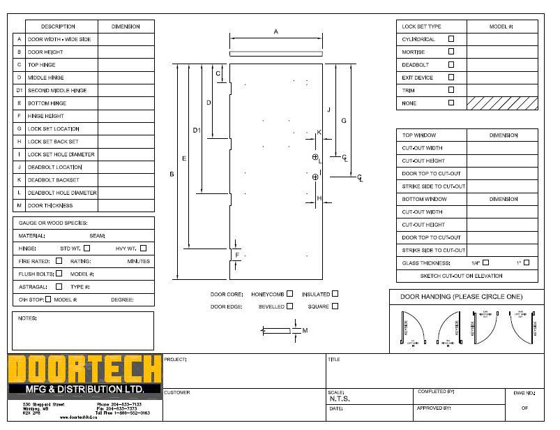 Existing Door Sheet  sc 1 th 197 & Doortech Mfg \u0026 Distribution Ltd.
